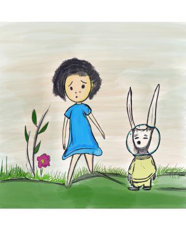 The girl and bunny astronaut