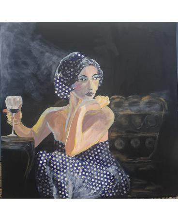 A woman in the dots