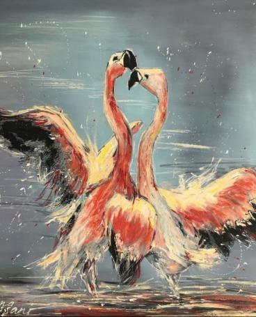 Dance of Pink Flamingoes
